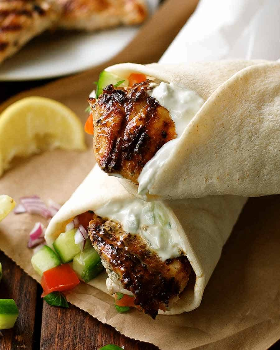 Close up of Greek Chicken Gryos wrap - easy Gyros recipe!