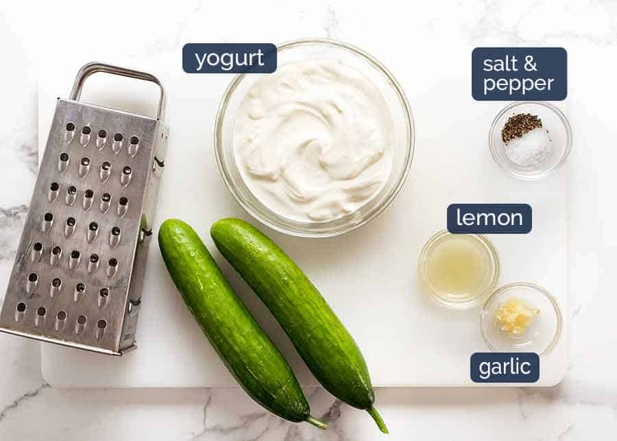 What goes in Tzatziki for Greek Chicken Gryos