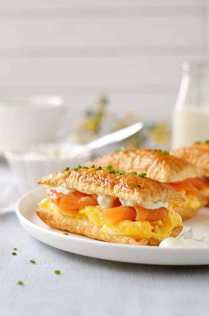 Plated Smoked Salmon and Egg Breakfast Mille-feuille