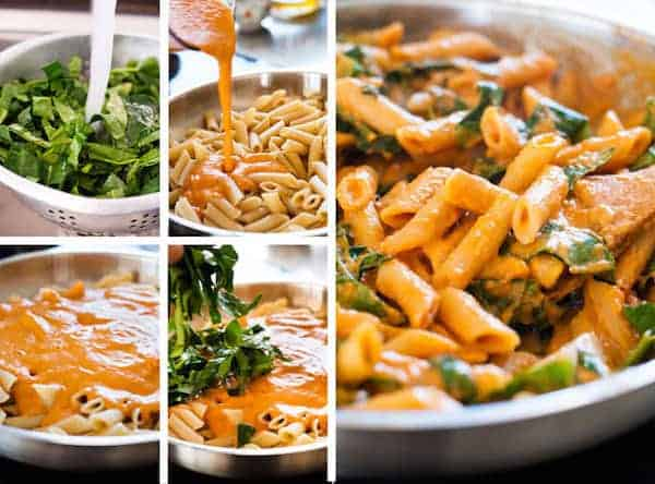 Photo sequence showing steps for making Creamy Sun Dried Tomato Penne