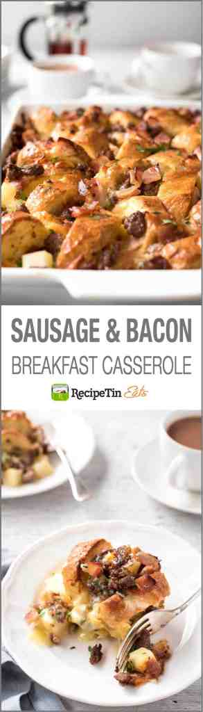 Sausage Bacon Country Breakfast Casserole - Great for feeding a crowd and make ahead. Tastes like a country breakfast fry up!