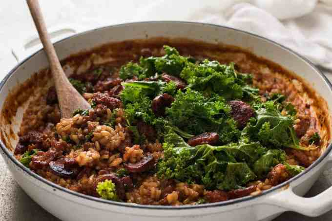 Chorizo Risotto with Kale - Chorizo is the key to the beautiful flavours in this risotto!