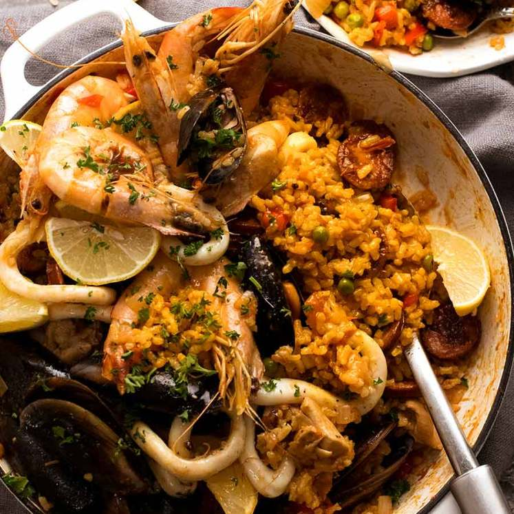 Paella ready to be served