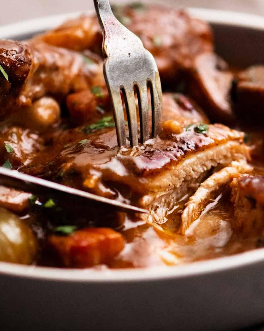 Eating Coq au Vin - French chicken stew