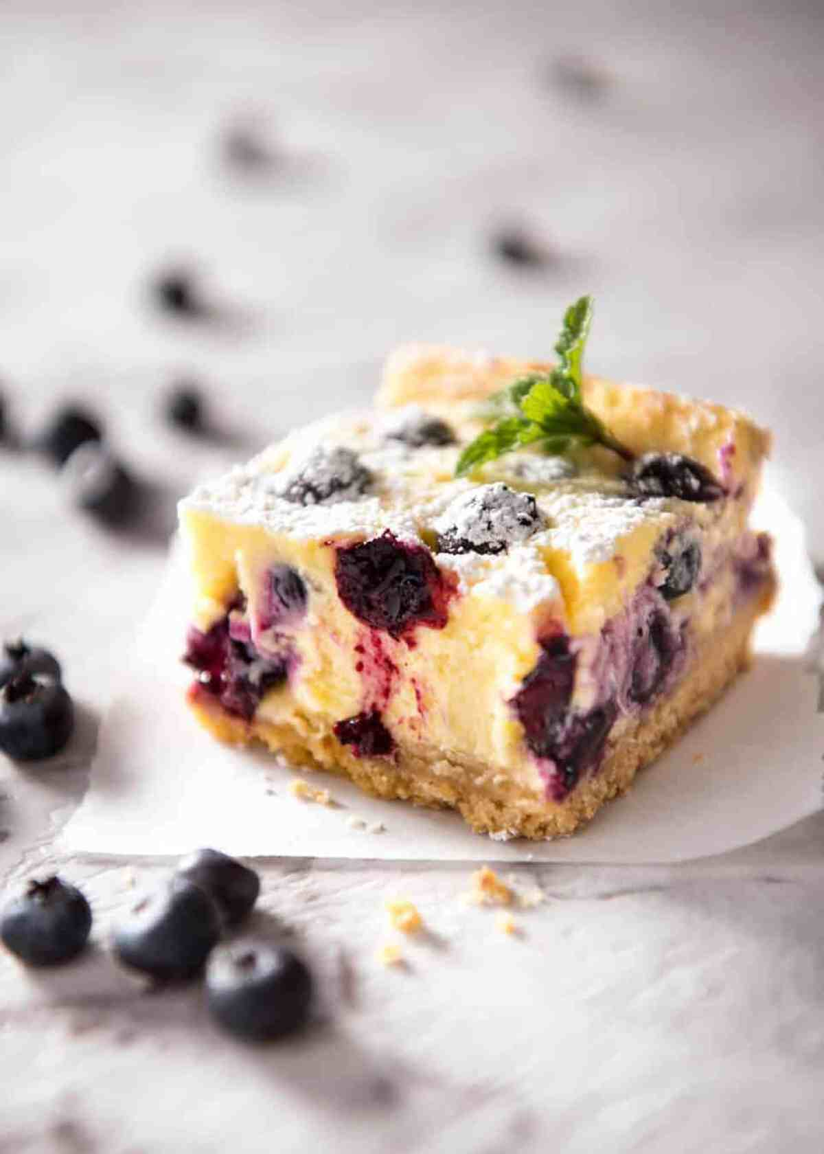 These Blueberry Cheesecake Bars are light yet creamy and luscious. Filled with soft blueberries, this is a baked cheesecake that's so easy to make! www.recipetineats.com