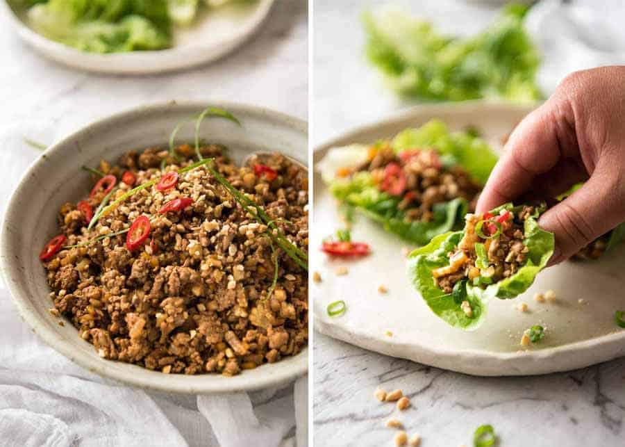 Filling for Chinese Lettuce Wraps made with pork or chicken and vegetables in a savoury brown sauce.