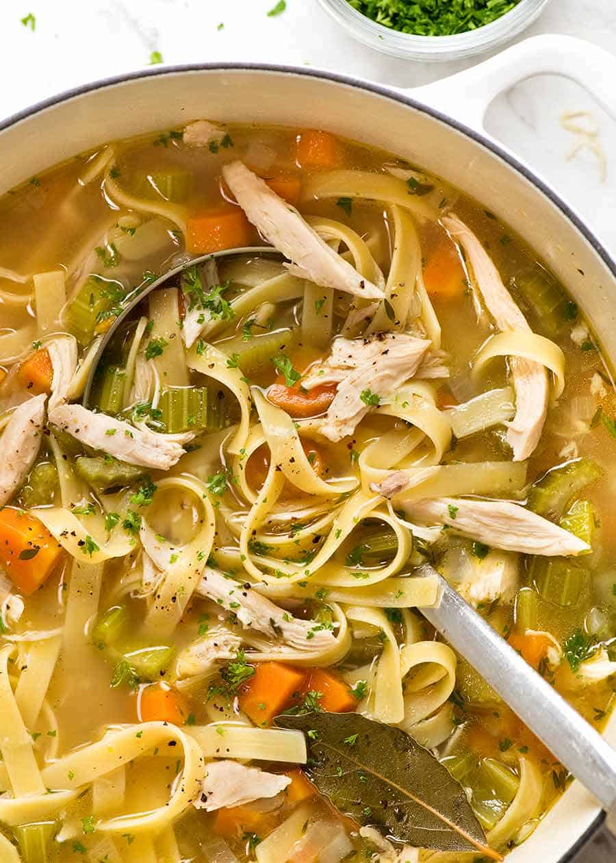 Close up of Chicken Noodle Soup from scratch in a pot, ready to be served