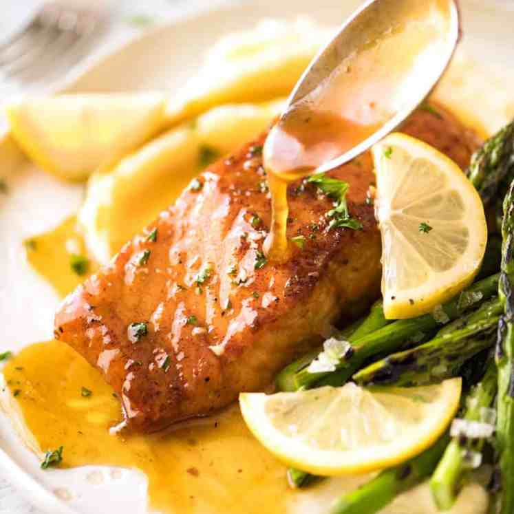 If this Lemon Honey Glazed Salmon takes more than 8 minutes to make, you've overcooked the salmon. That sauce is lip smackingly delicious! recipetineats.com