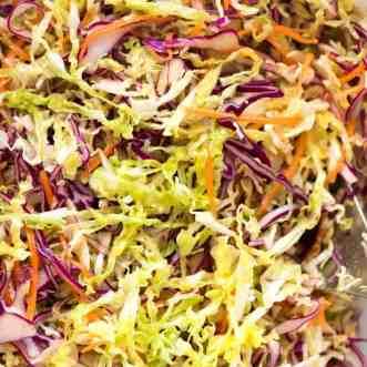 Close up of Everyday Cabbage Salad with a vinaigrette