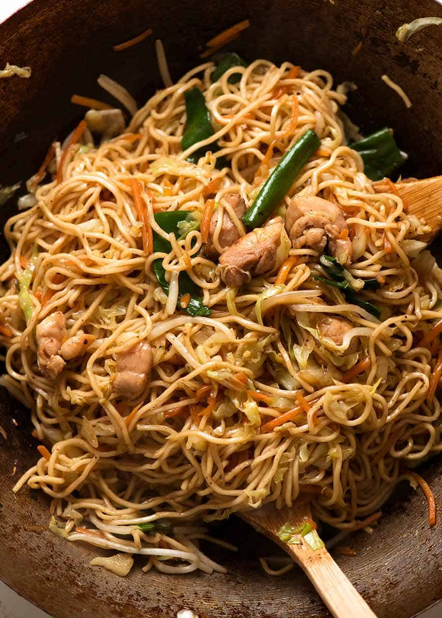 Chow Mein Noodles in a wok