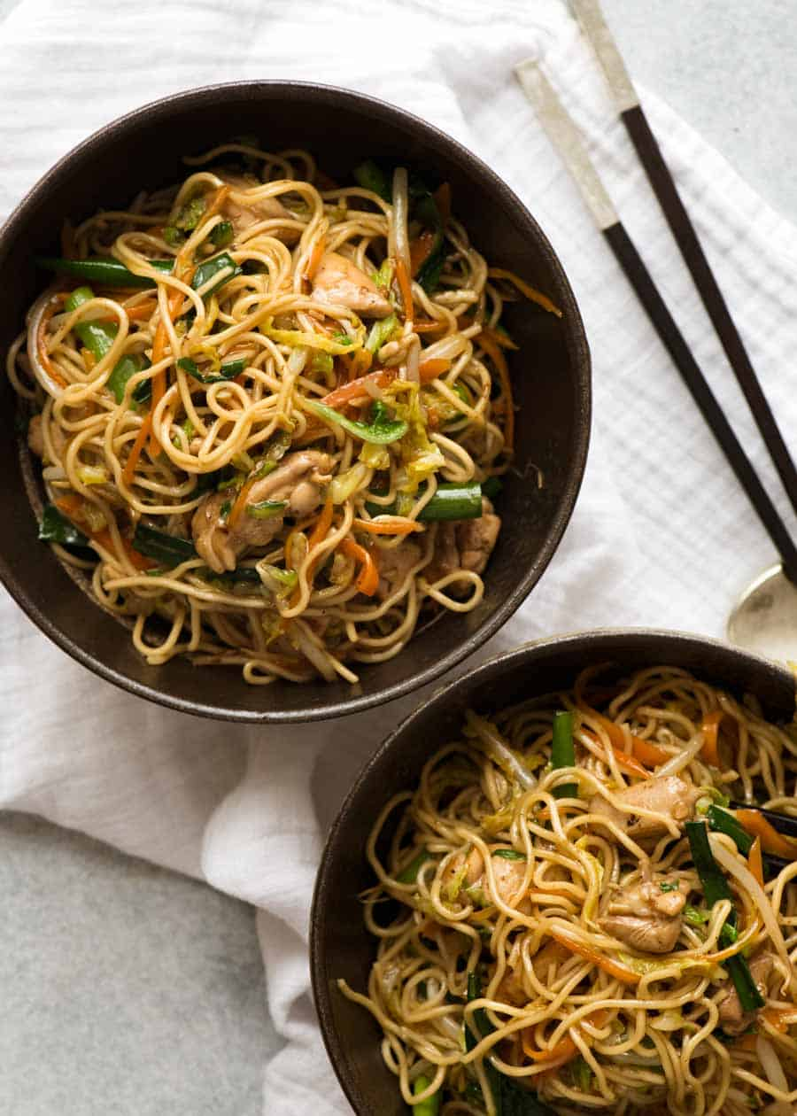 Overhead photo of 2 bowls with Chow Mein noodles