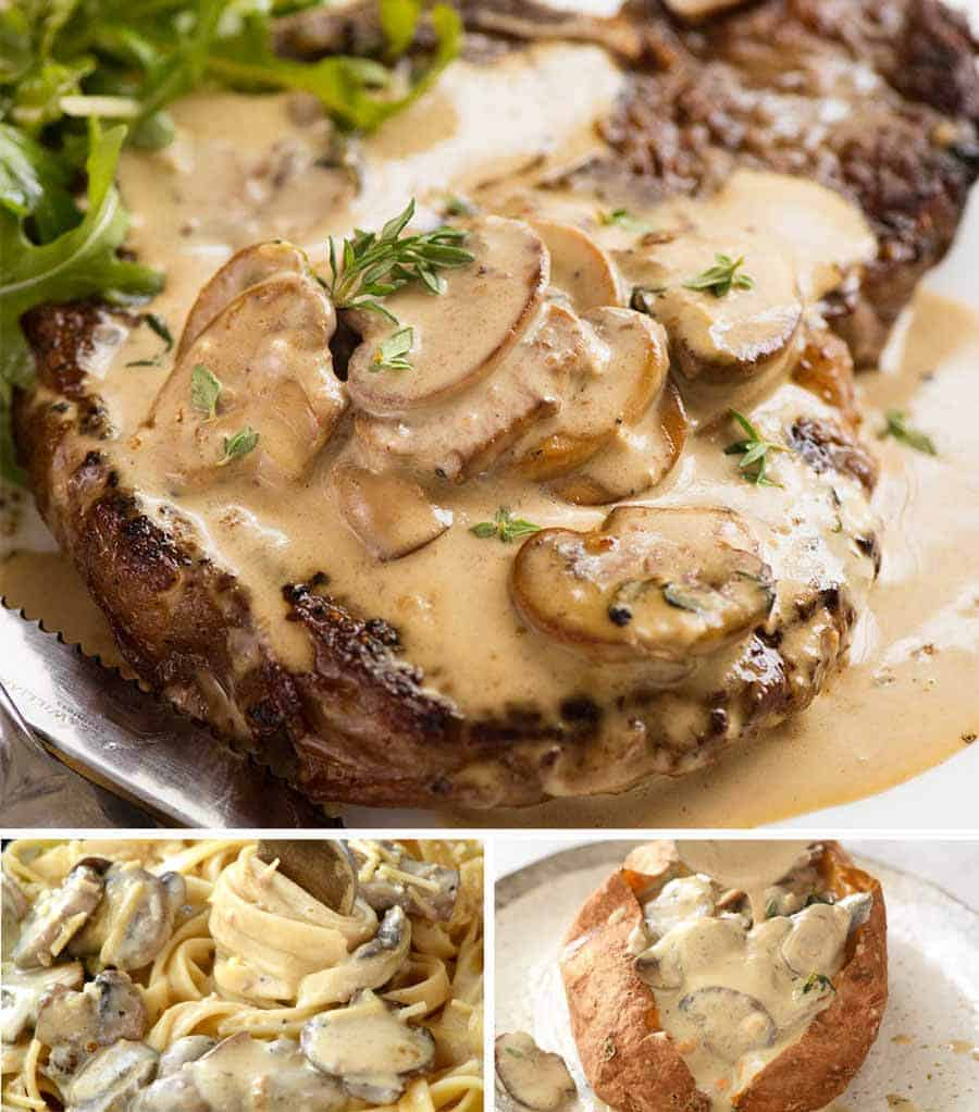 Close up of Mushroom Sauce on Steak