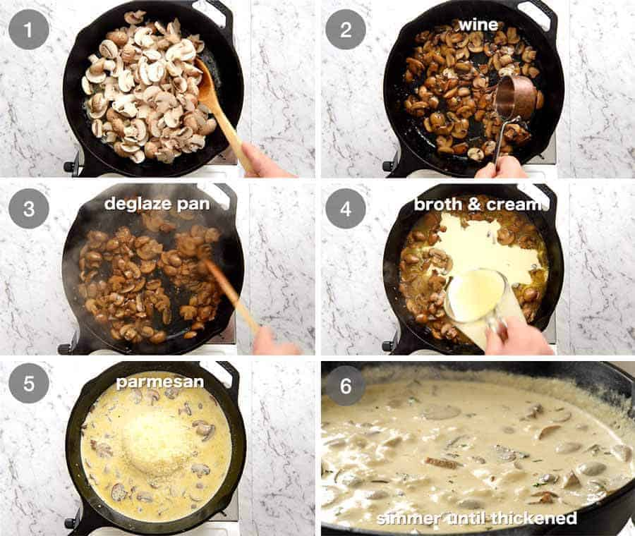 Preparation steps for Creamy Mushroom Sauce