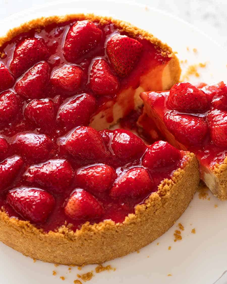Photo of top of Strawberry Cheesecake with Strawberry Sauce Topping