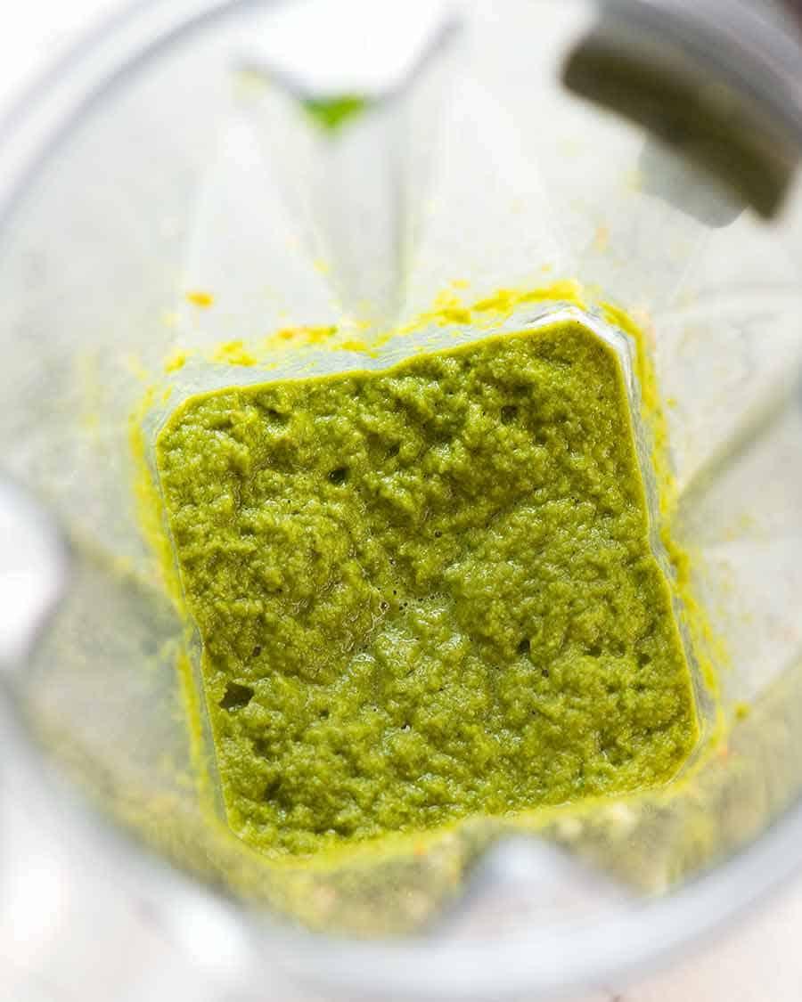 Thai Green Curry paste in blender