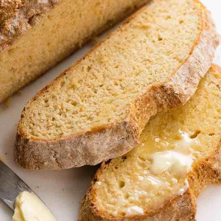 Close up of slice of Irish Soda Bread (no yeast bread)