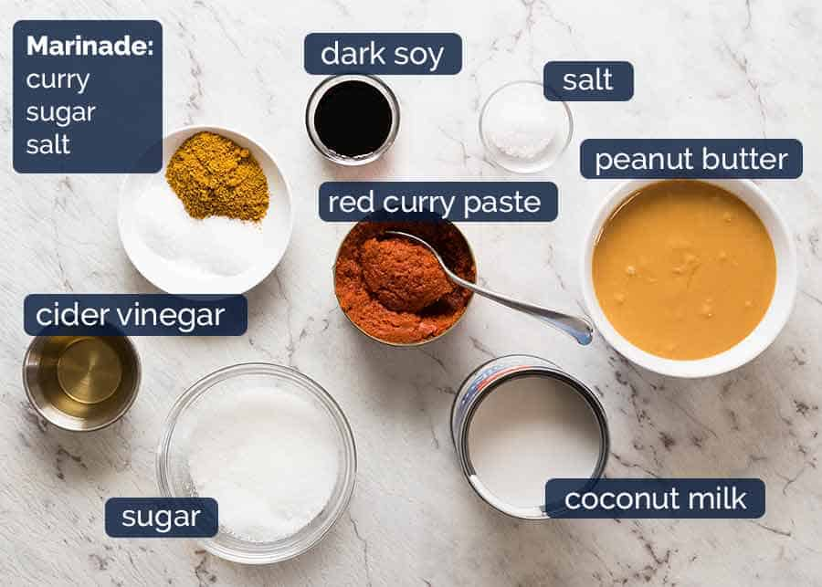 Ingredients in Thai Chicken Satay with Peanut Sauce