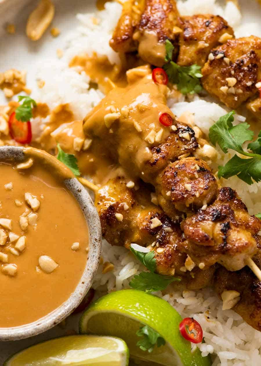 Close up of Chicken Satay with Thai Peanut Sauce
