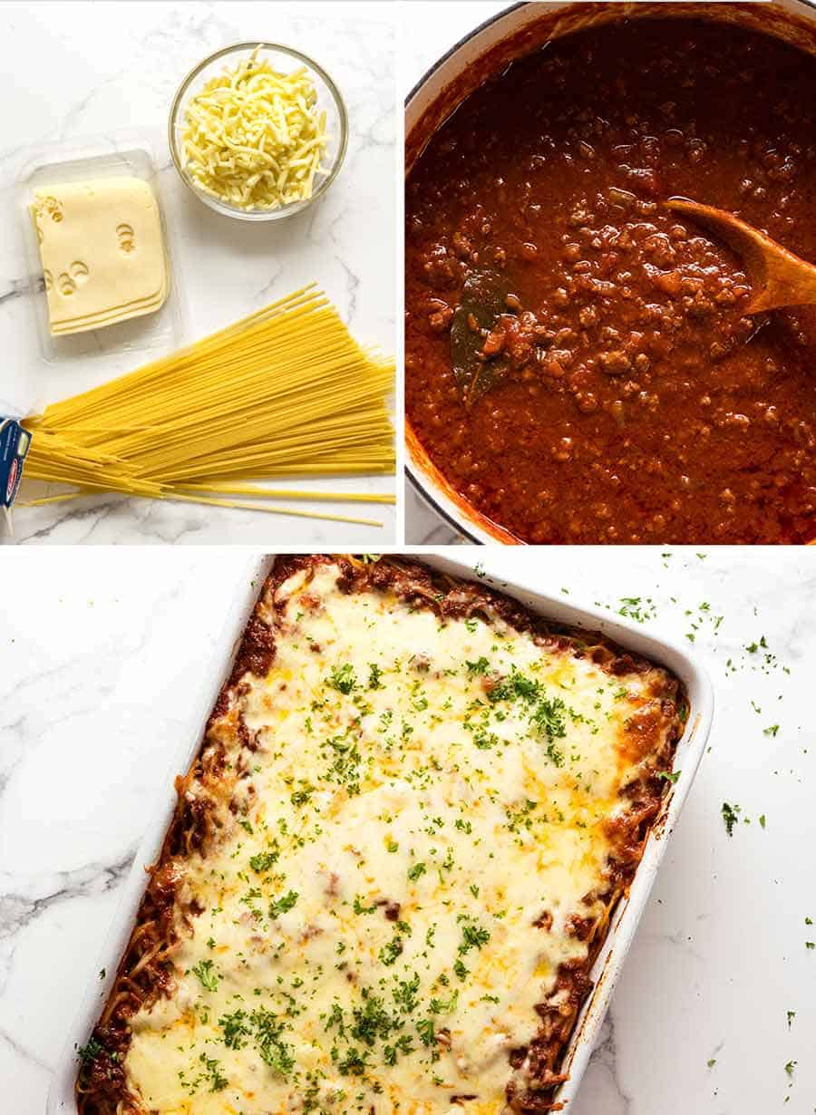 Cheese and pasta for Baked Spaghetti