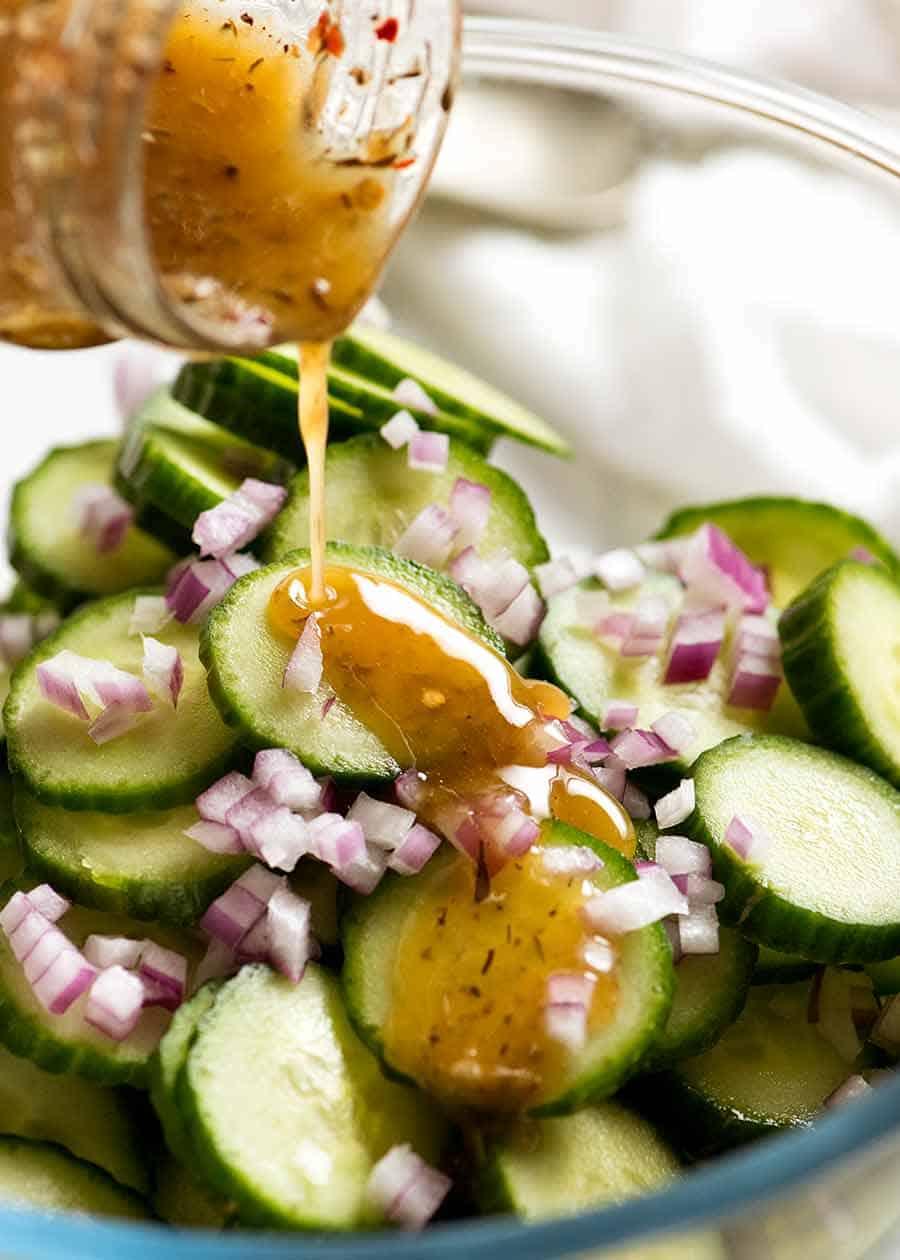 Drizzling Cucumber Salad with Herb & Garlic Vinaigrette (Dressing)