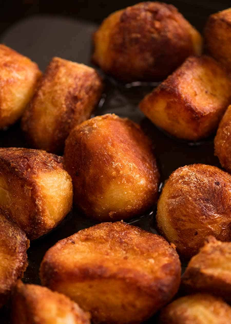 Close up of Duck Fat Potatoes fresh out of the oven