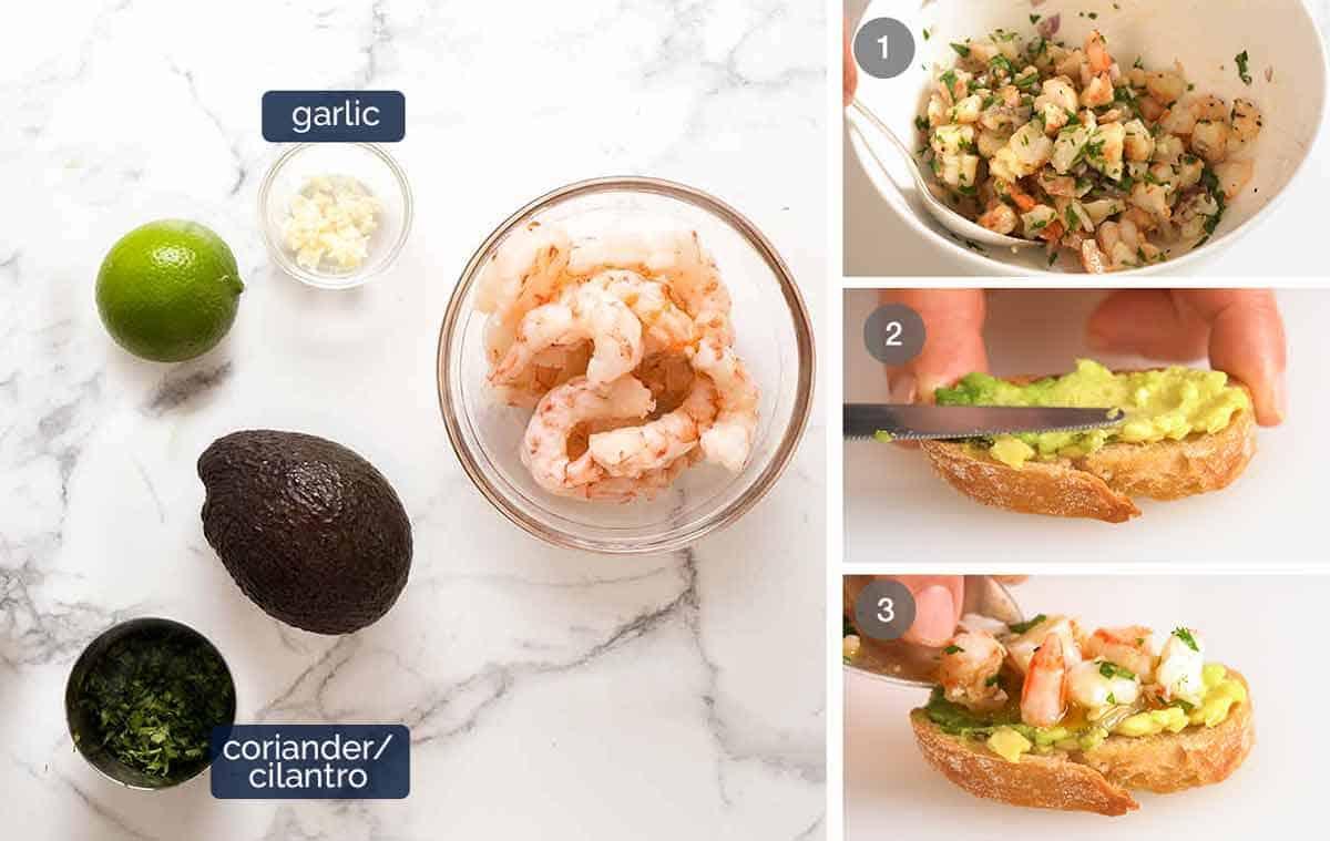 How to make Prawn / Shrimp Avocado Crostini