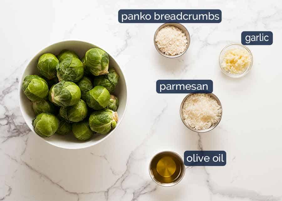 What goes in CRISPY Parmesan Garlic Roasted Brussels sprouts