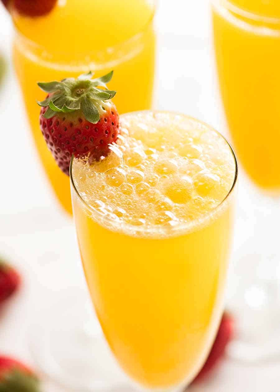 Close up of sparkling Mimosa