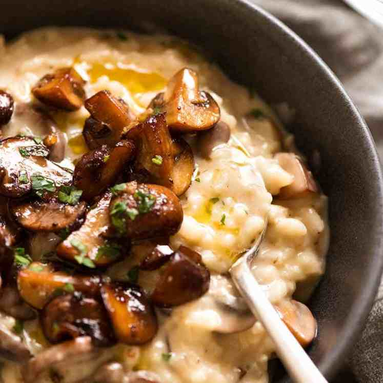 Bowl with creamy Mushroom Risotto, ready to be eaten