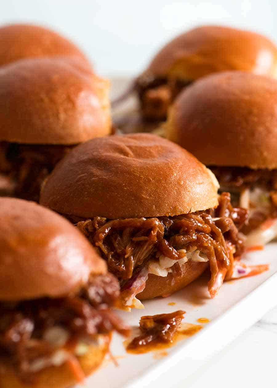Platter of Pulled pork sliders with BBQ Sauce
