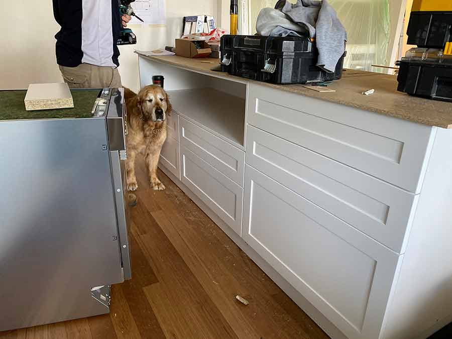 Dozer in new kitchen under construction