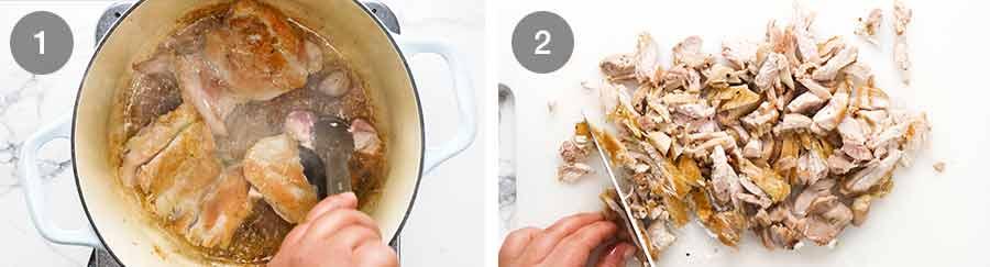 How to make chicken for Chicken Tetrazzini - creamy chicken mushroom pasta bake