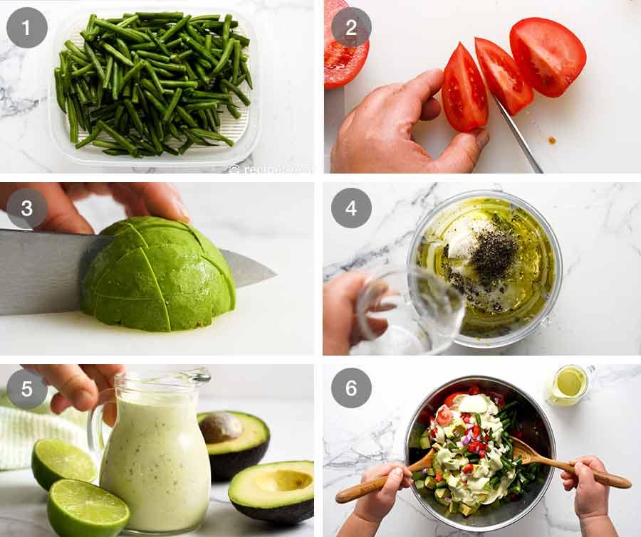How to make Green Bean Avocado Salad with Avocado Dressing