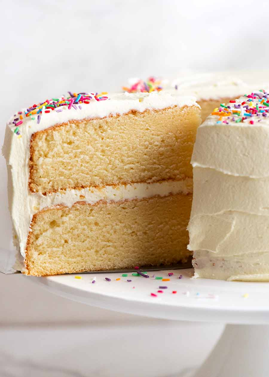 Close up showing the even crumb of the best Vanilla Cake