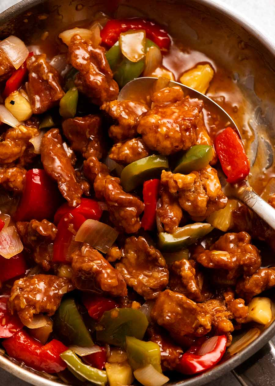 Photo of Sweet and Sour Pork in a skillet, ready to be served
