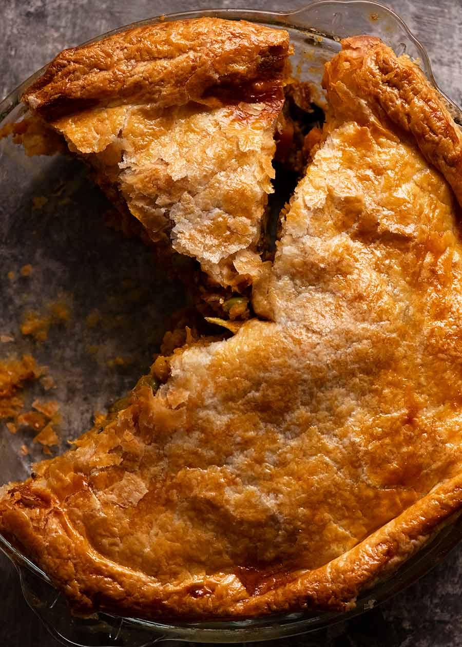 Overhead of Vegetable Samosa Pie