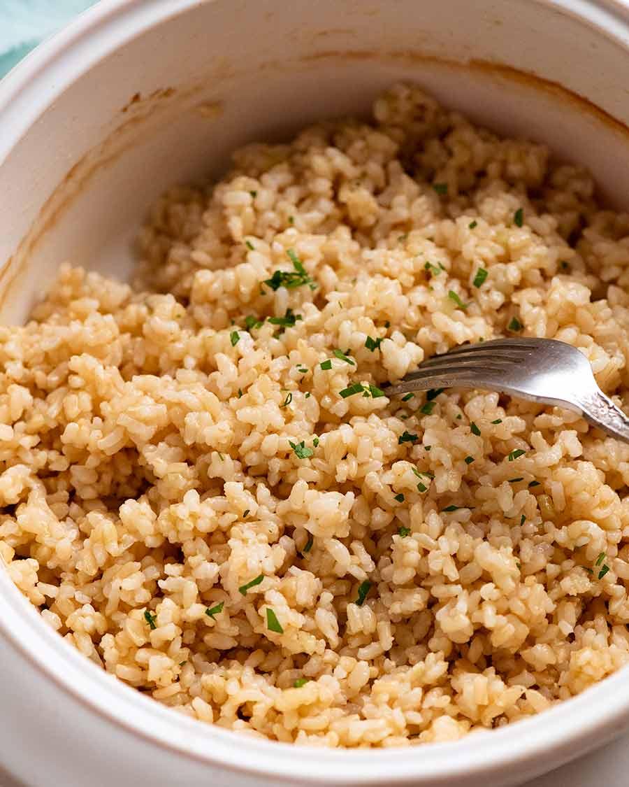 Baked brown short grain rice