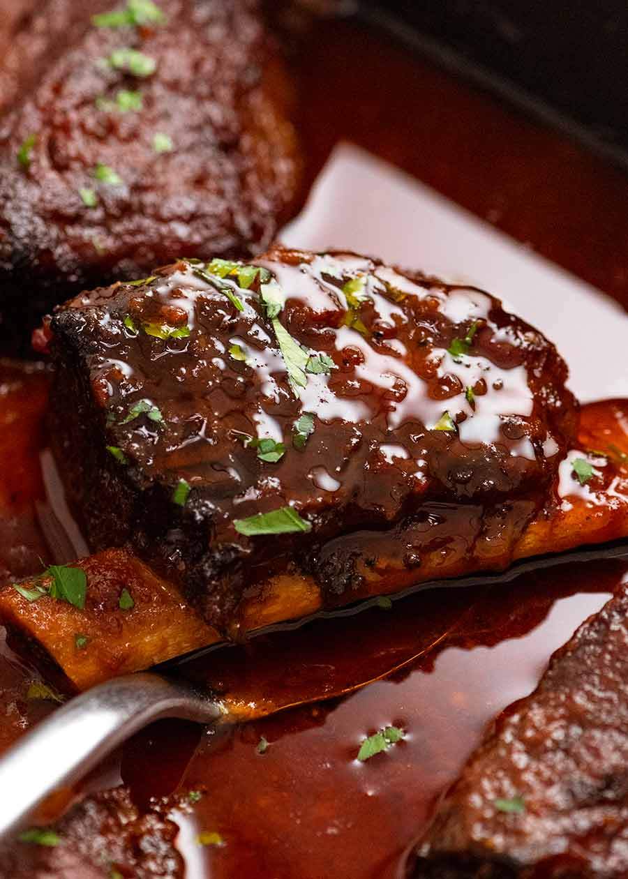 Beef Ribs in barbecue sauce fresh out of the oven, ready to be eaten
