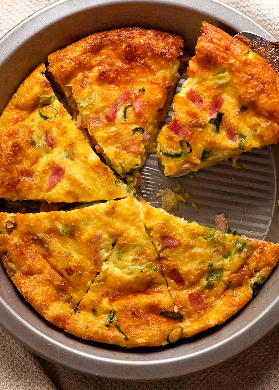 Pie tin with Crustless Quiche - Ham and Cheese