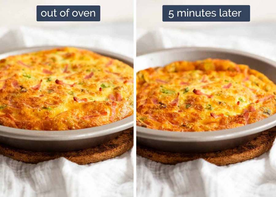 Showing deflation of Crustless Quiche - Ham and Cheese