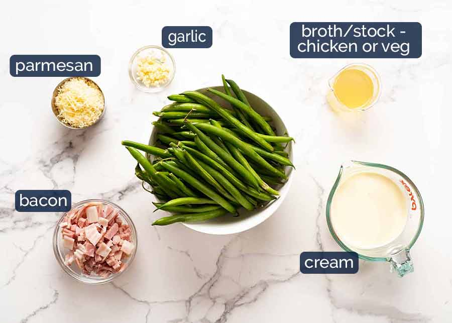 Ingredients in Green beans in creamy parmesan sauce with bacon