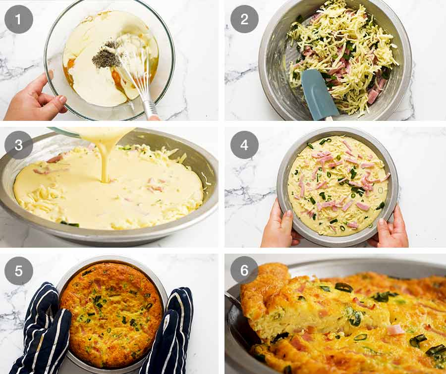 How to make Crustless Quiche - Ham and Cheese