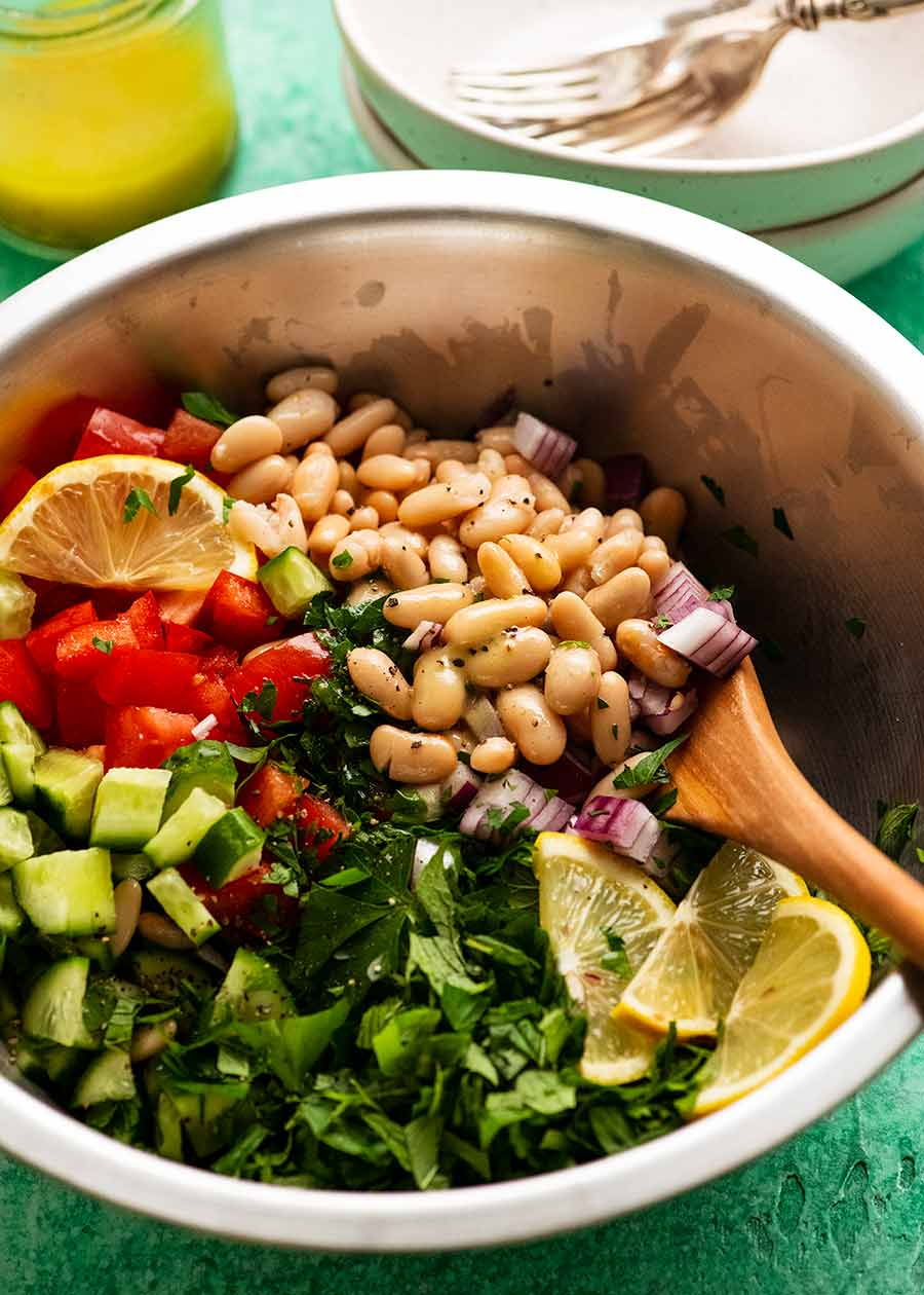 White Bean Tabbouleh Salad in a big silver bowl