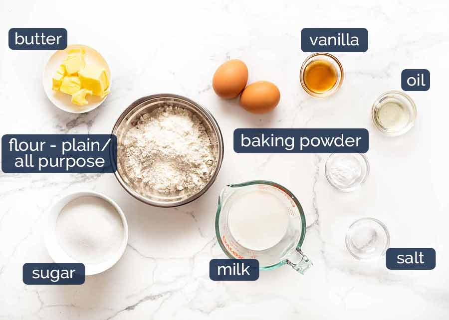 Vanilla Cupcakes ingredients