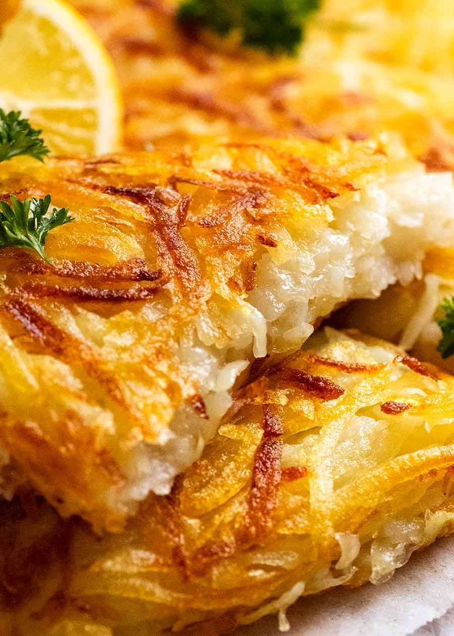 Close up of Potato Rosti slice