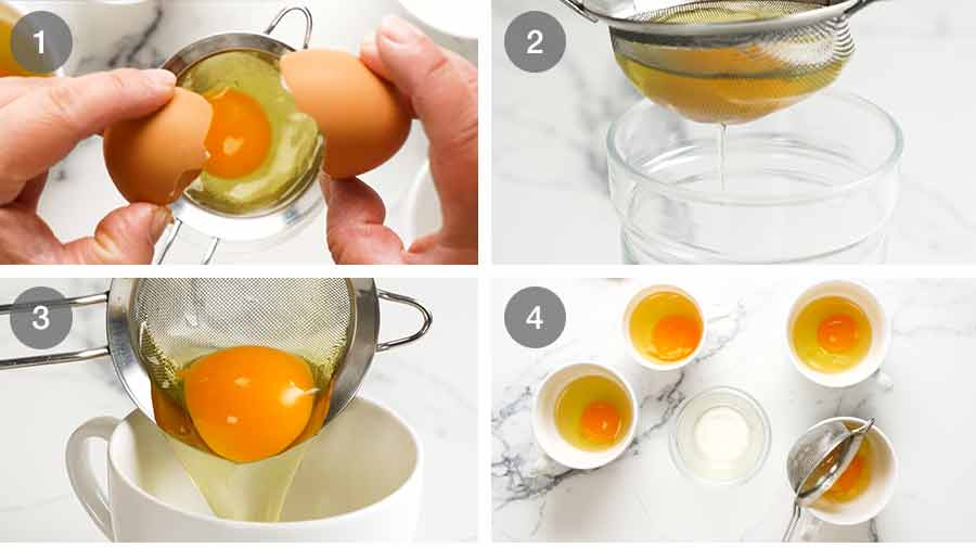 Straining eggs for poached eggs