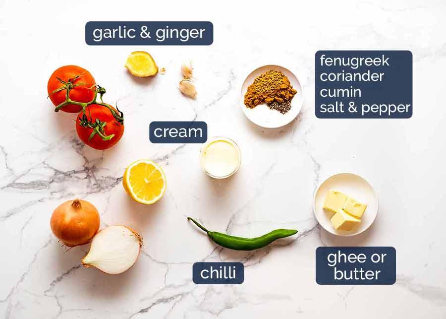 Palak Paneer ingredients