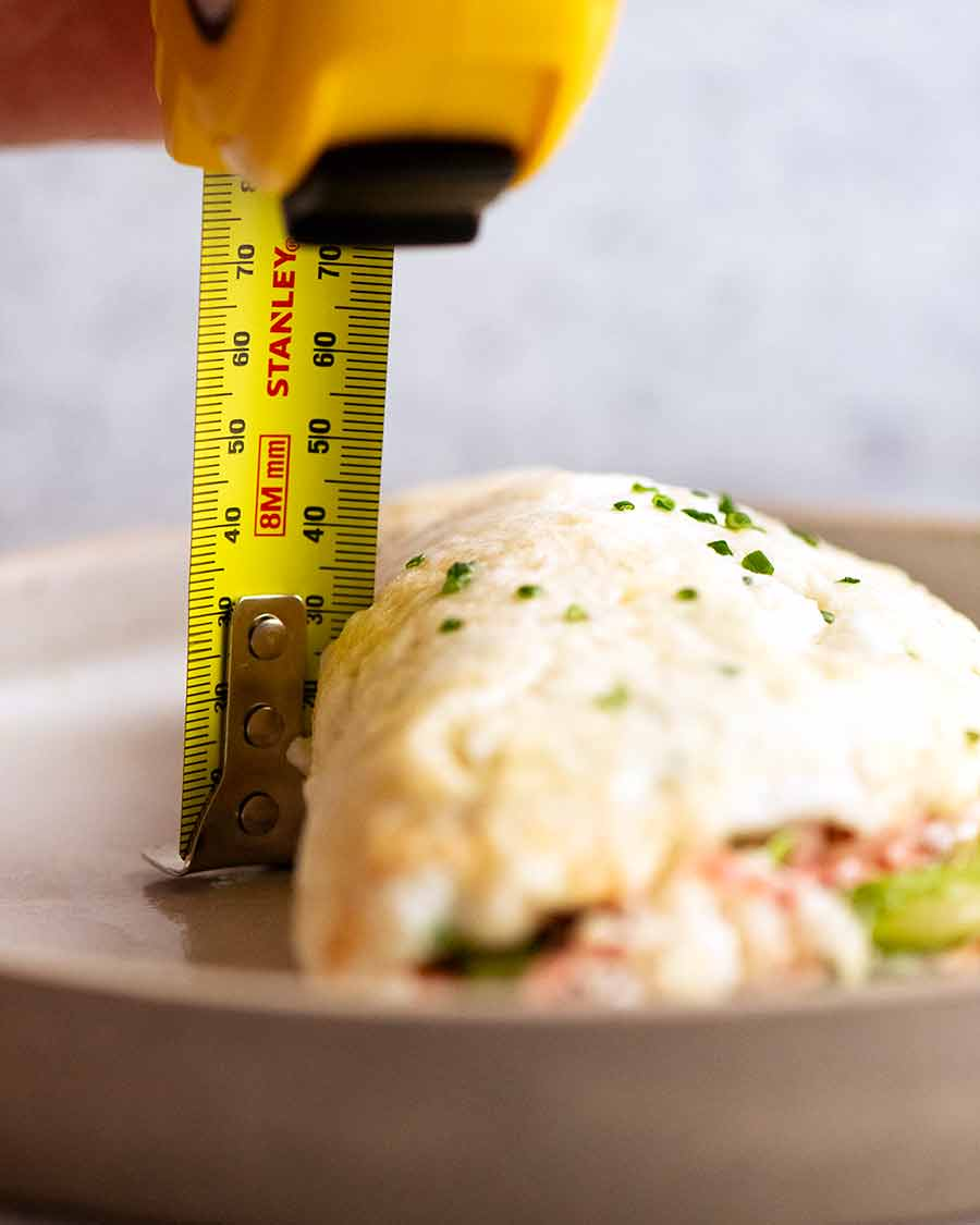 Ruler against Fluffy Egg White Omelette to show how fluffy it is!