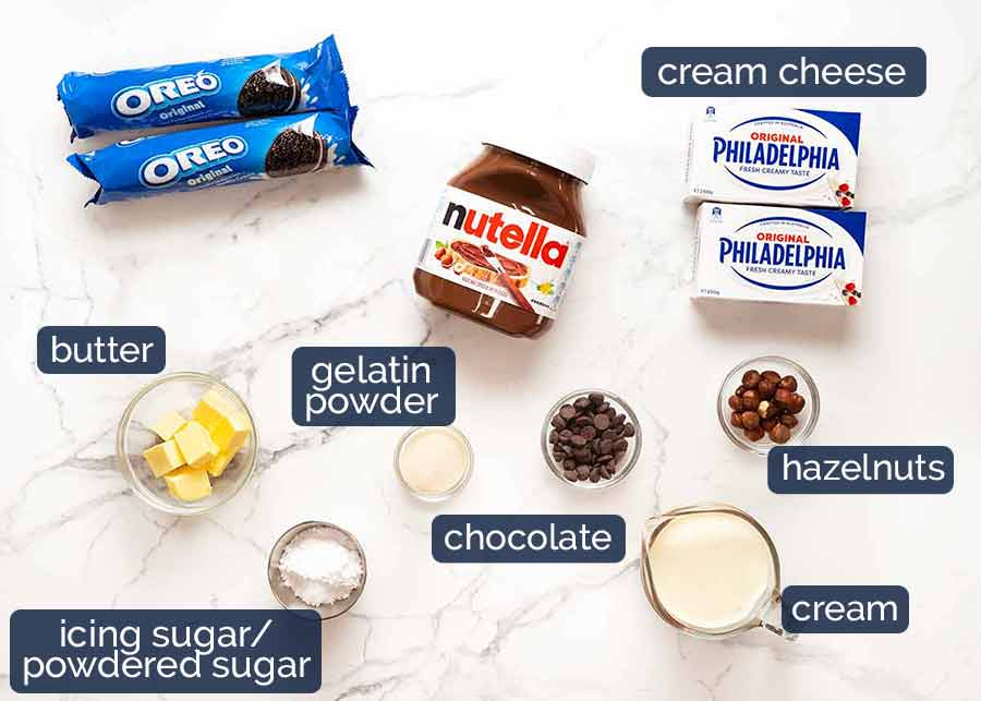 Ingredients in Nutella Cheesecake (No Bake)