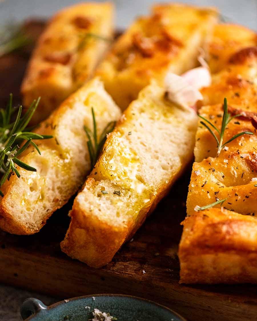 Close up of slices of Rosemary Garlic Focaccia